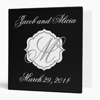 Wedding Planning Binder Scrapbook Monogram Black