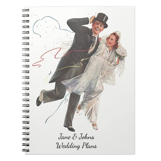 Wedding Plans Stylish Vintage Retro Journal Book Spiral Note Books