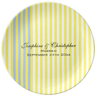 Wedding Plate with Yellow Stripes Porcelain Plates