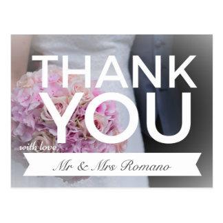 Wedding Postcard Purple Flowers Thank You Note