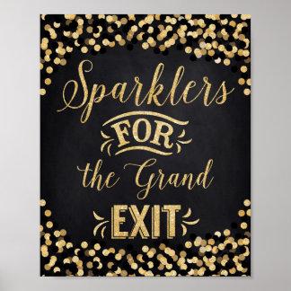 Wedding Poster Black Gold- Sparklers