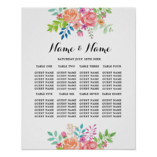 Wedding Poster Seating 8 Table Floral Flowers Sign