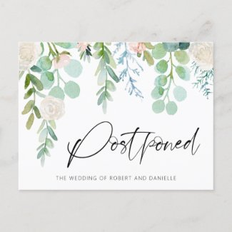 Wedding Postponement Watercolor Floral Greenery Announcement Postcard