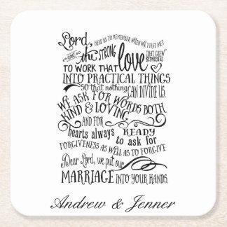 Wedding prayer personalised Favor wedding coaster