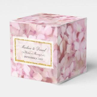 Wedding Pretty Pink Faux Gold Hydrangea Floral Art Favor Box