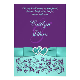 Wedding | PRINTED BOW Aqua, Purple | Floral Card