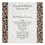 "Wedding Program - Animal Print, Leopard - Brown 5.25"" Square Invitation Card"