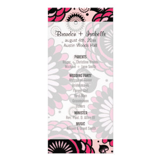 Wedding Program Black & Hot Pink Floral Customized Rack Card