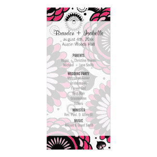 Wedding Program Black & Hot Pink Floral Full Colour Rack Card