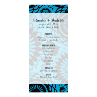Wedding Program Black & Ocean Blue Floral Full Color Rack Card