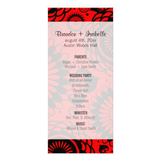 Wedding Program Black & Red Floral Custom Rack Cards