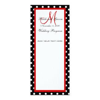 "Wedding Program Black White Polka Dots 4"" X 9.25"" Invitation Card"