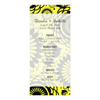 Wedding Program Black & Yellow Floral Rack Card Template