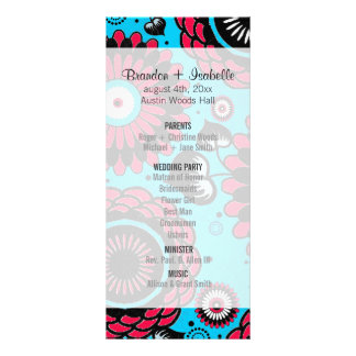 "Wedding Program ""Bohemian Garden"" Aqua & Red Rack Card Template"