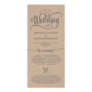 Wedding program card rustic calligraphy design v6