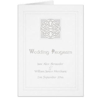 Wedding Program Card Silver Effect Celtic Knot