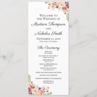 Wedding Program Cards with Rustic Pink Flowers