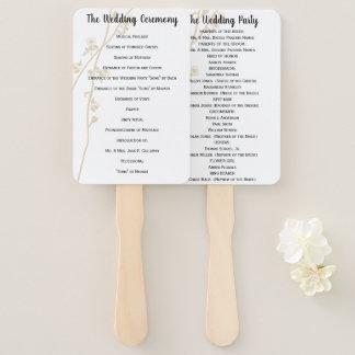 Wedding Program Fan Floral Any Custom Color