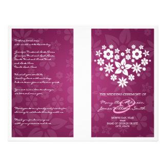 Wedding Program Flowery Heart Berry Pink