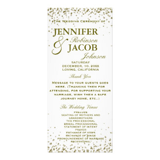 Wedding Program | Gold Glitter Confetti Rack Card Template