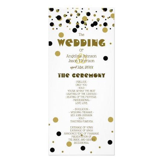 Wedding Program Golden Black Dots Stripes Modern