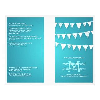 Wedding Program Love Bunting Monogram Turquoise