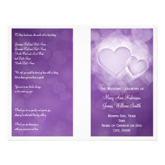 Wedding Program Modern Hearts Purple Full Colour Flyer