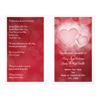 Wedding Program Modern Hearts Red Custom Flyer
