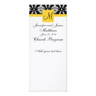 "Wedding Program Monogram Black White Damask 4"" X 9.25"" Invitation Card"