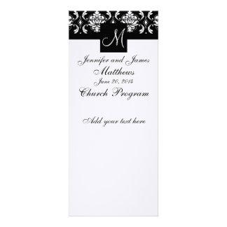 Wedding Program Monogram Black White Damask Personalized Invite