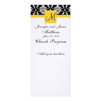 Wedding Program Monogram Black White Damask Custom Invite