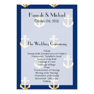 Wedding Program - Nautical Anchors - Blue Gold