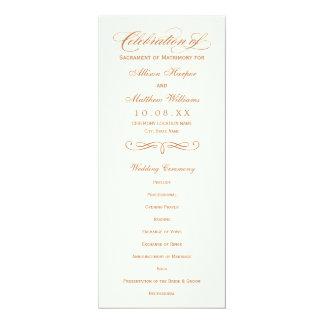 Wedding Program Panel | Copper Calligraphy Design