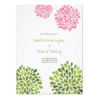 Wedding Program Pink Green Flower Blooms