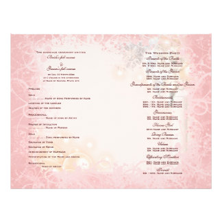 Wedding program pink white whimsical