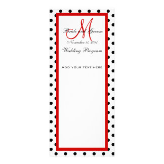 Wedding Program Polka Dots Red Monogram Invitations
