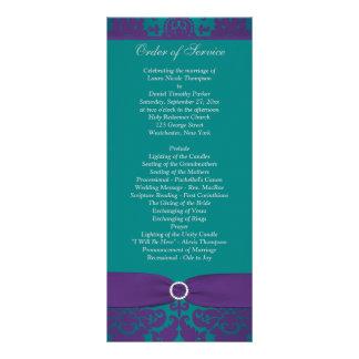 Wedding Program | PRINTED RIBBON Purple, Teal