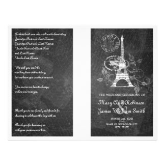 Wedding Program Romantic Paris Black Flyer