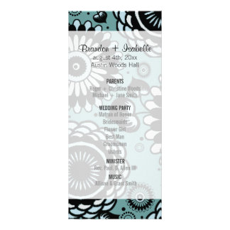 Wedding Program Sky Blue Floral Customized Rack Card