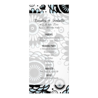 Wedding Program Sky Blue Floral Rack Card