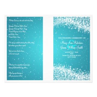 Wedding Program Sparkling Wave Blue Flyer