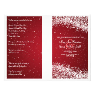 Wedding Program Sparkling Wave Red Flyer