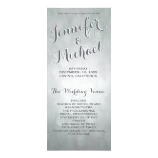 Wedding Program | Subtle Silver Highlights Personalized Rack Card