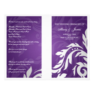 Wedding Program Swirly Flourish Purple Flyers