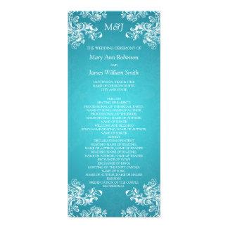 Wedding Program Vintage Swirls 2 Turquoise Customized Rack Card