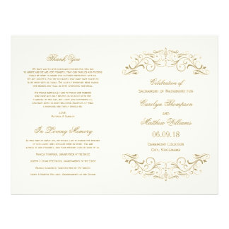 Wedding Programs | Antique Gold Flourish Full Color Flyer