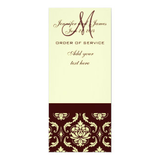 "Wedding Programs Brown Cream Damask 4"" X 9.25"" Invitation Card"
