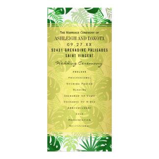 Wedding Programs | Exotic Green Tropical Leaves Full Color Rack Card