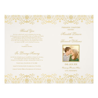 Wedding Programs | Gold Vintage Glamour Personalized Flyer