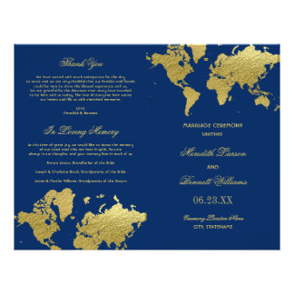 Wedding Programs | Gold World Map